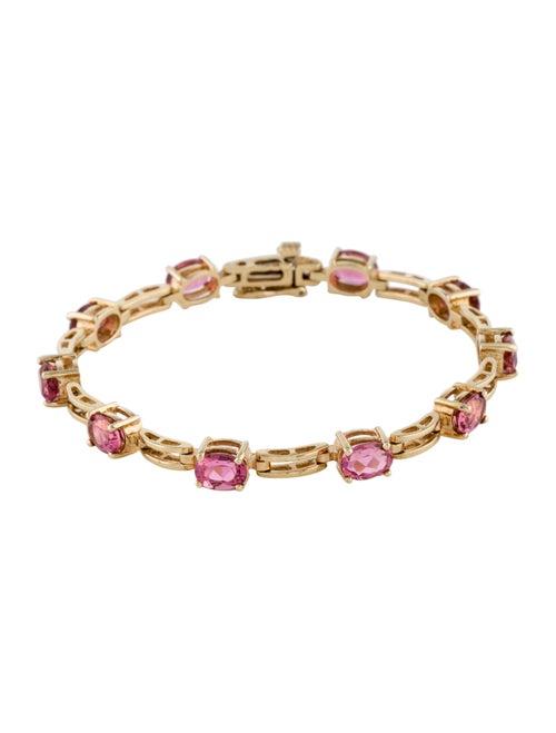 14K Pink Tourmaline Link Bracelet Yellow