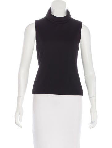 Brandon Maxwell Turtleneck Sleeveless Top None