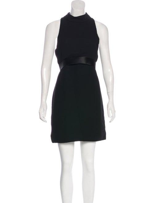 Brandon Maxwell Satin-Trimmed Mini Dress Black