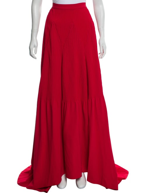 Brandon Maxwell Pleated Maxi Skirt w/ Tags Red