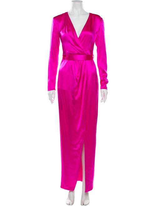 Brandon Maxwell Silk Long Dress Pink