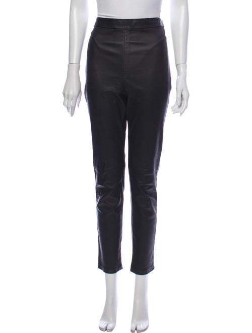 Brandon Maxwell Leather Straight Leg Pants Black