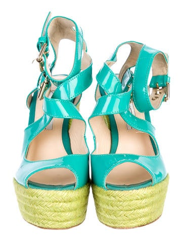 April Patent Espadrille Wedges