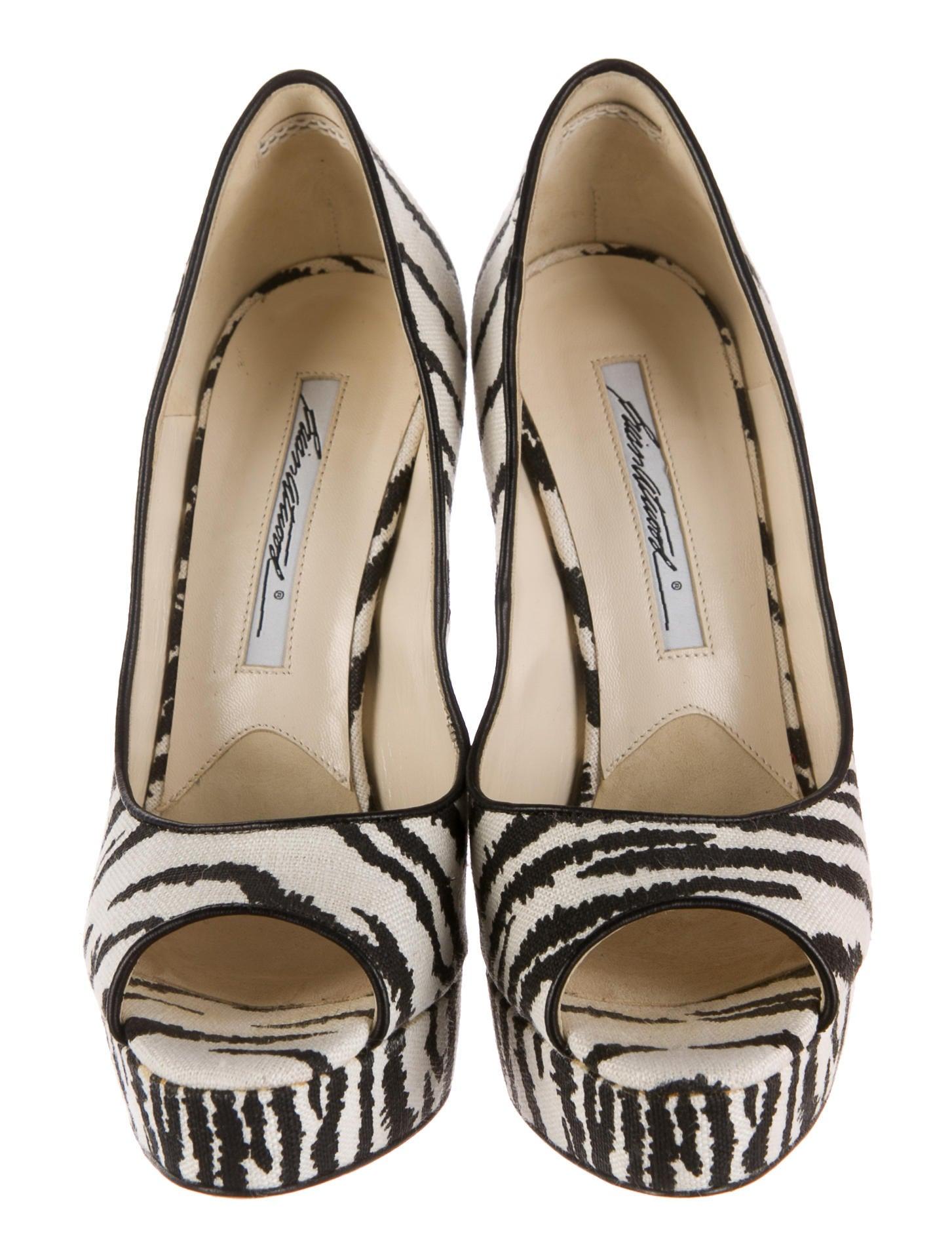 Brian Atwood Zebra Print Peep Toe Pumps Shoes Bri22600 The Realreal