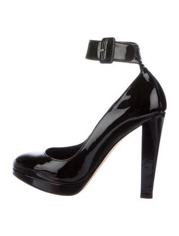 Brian Atwood Patent Ankle Strap Pumps None
