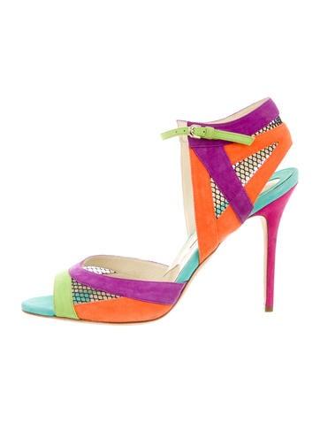 Suede Mesh-Trimmed Sandals