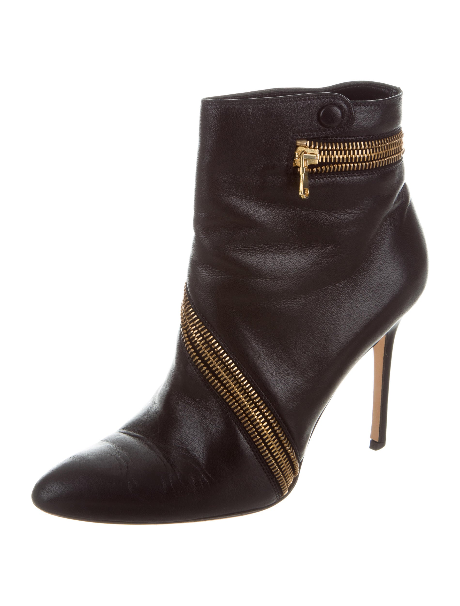 brian atwood leather pointed toe ankle boots shoes
