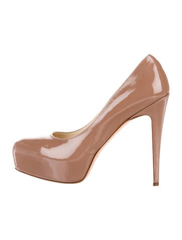 Brian Atwood Patent Leather Platform Pumps None