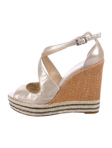 Brian Atwood Metallic Crossover Wedges None