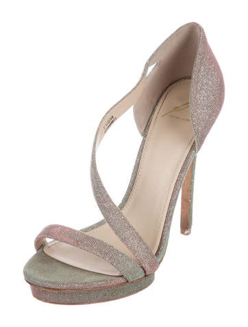 original cheap online Brian Atwood Iridescent Canvas Sandals finishline online cxQyI9Mykz