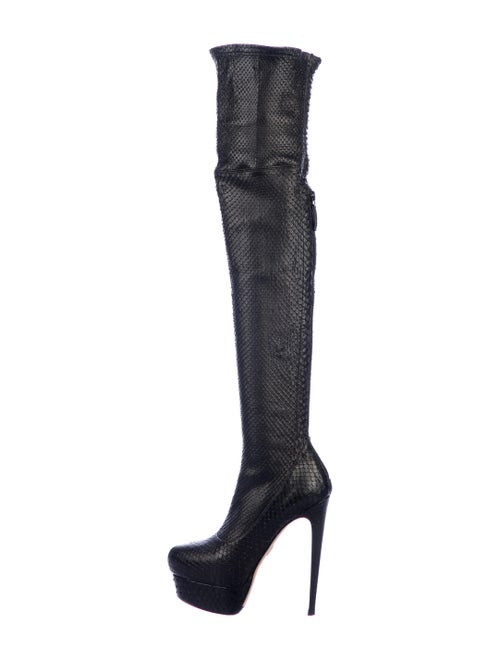 Brian Atwood Snakeskin Boots Black