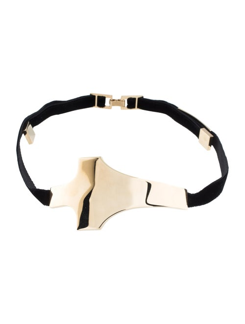 Brian Atwood Cross Choker Necklace Gold