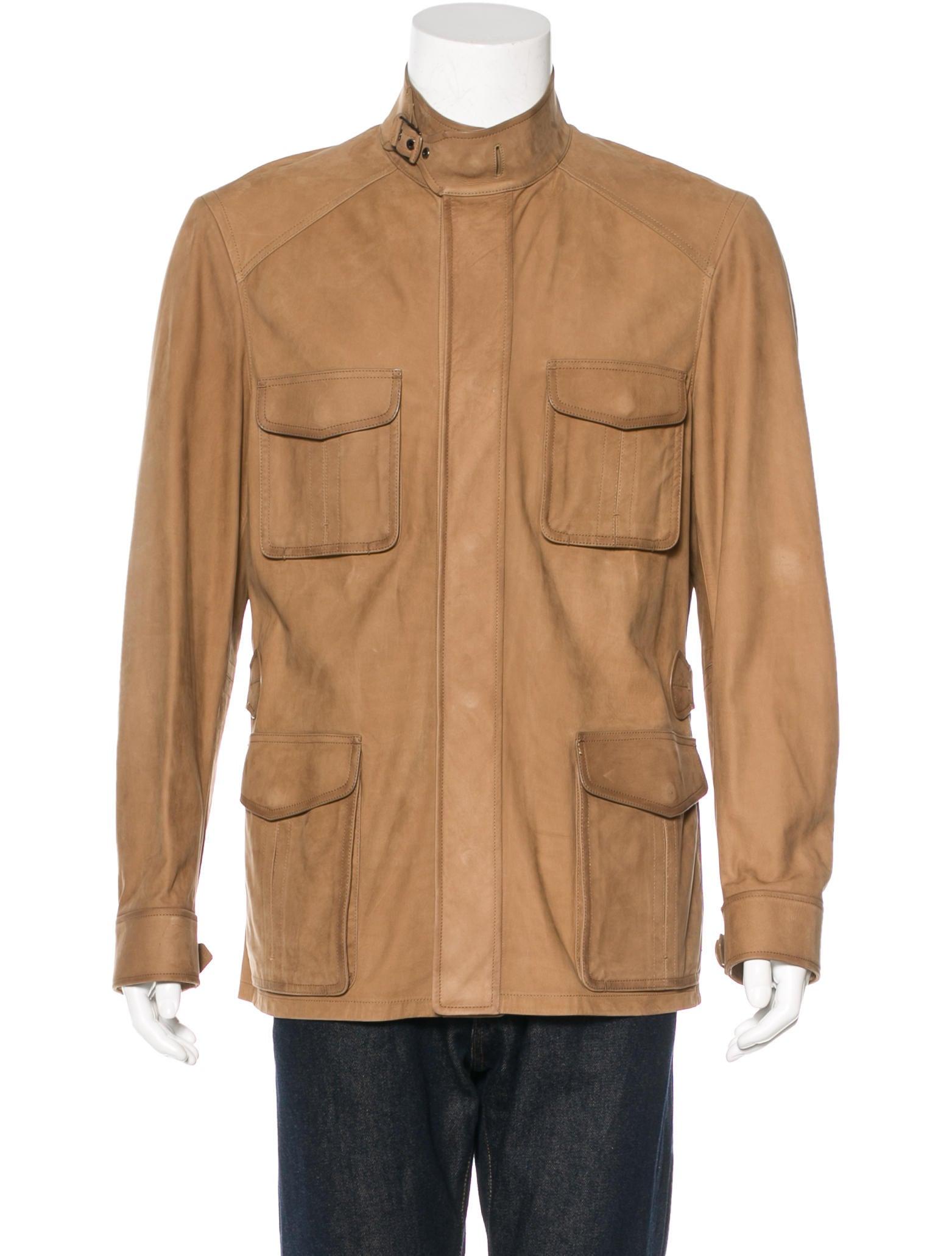 Leather field jacket