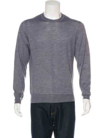 Berluti Leather-Trimmed Cashmere Sweater w/ Tags None
