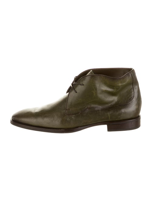 Berluti Leather Lace-Up Boots Green