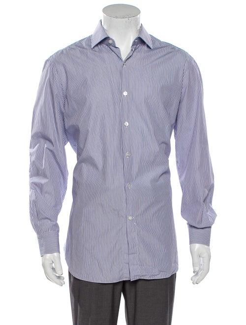 Berluti Striped Long Sleeve Dress Shirt Blue