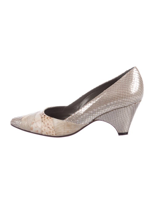 Bruno Magli Embossed Leather Pumps Metallic