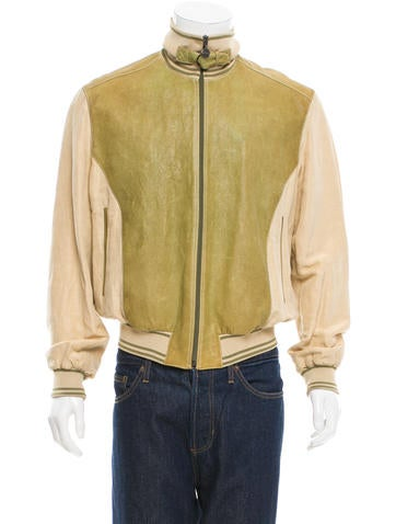 Brioni Leather Rib Knit-Trimmed Jacket None