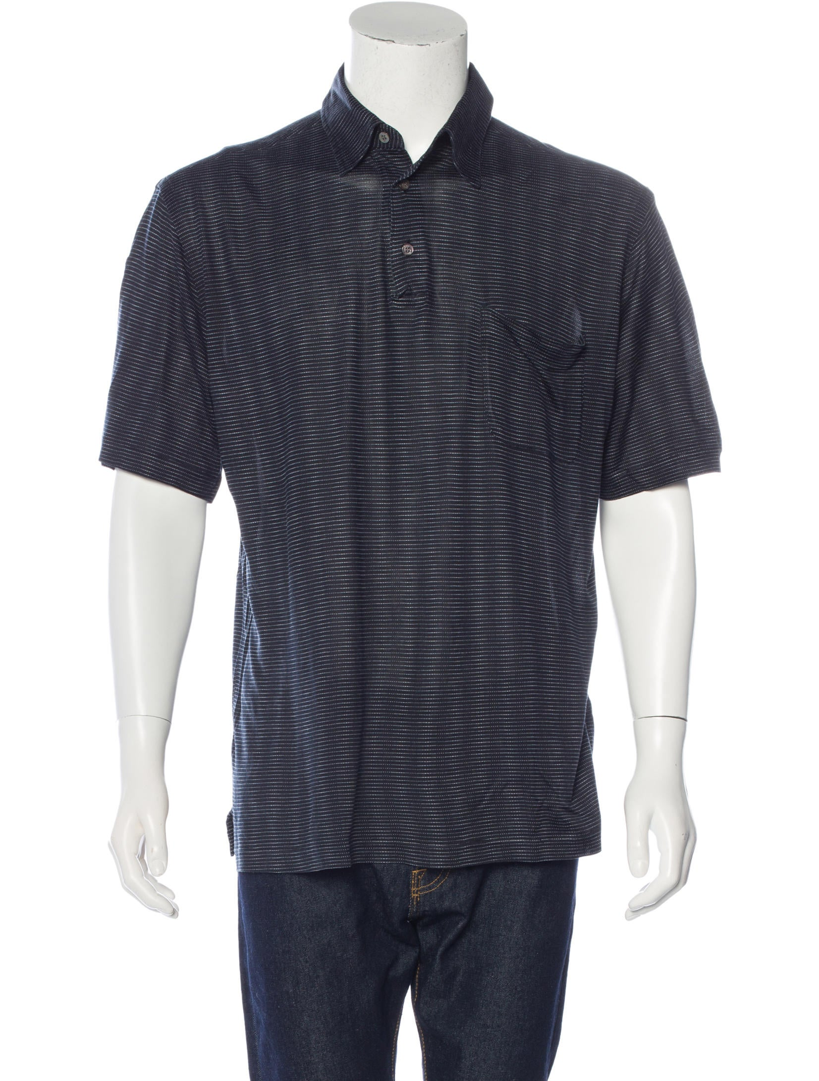 Brioni Silk Striped Polo Shirt Clothing Bro21457 The