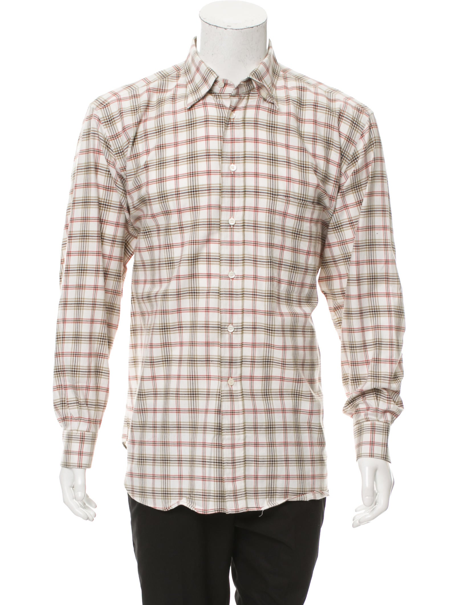 brioni plaid button up shirt clothing bro21815 the