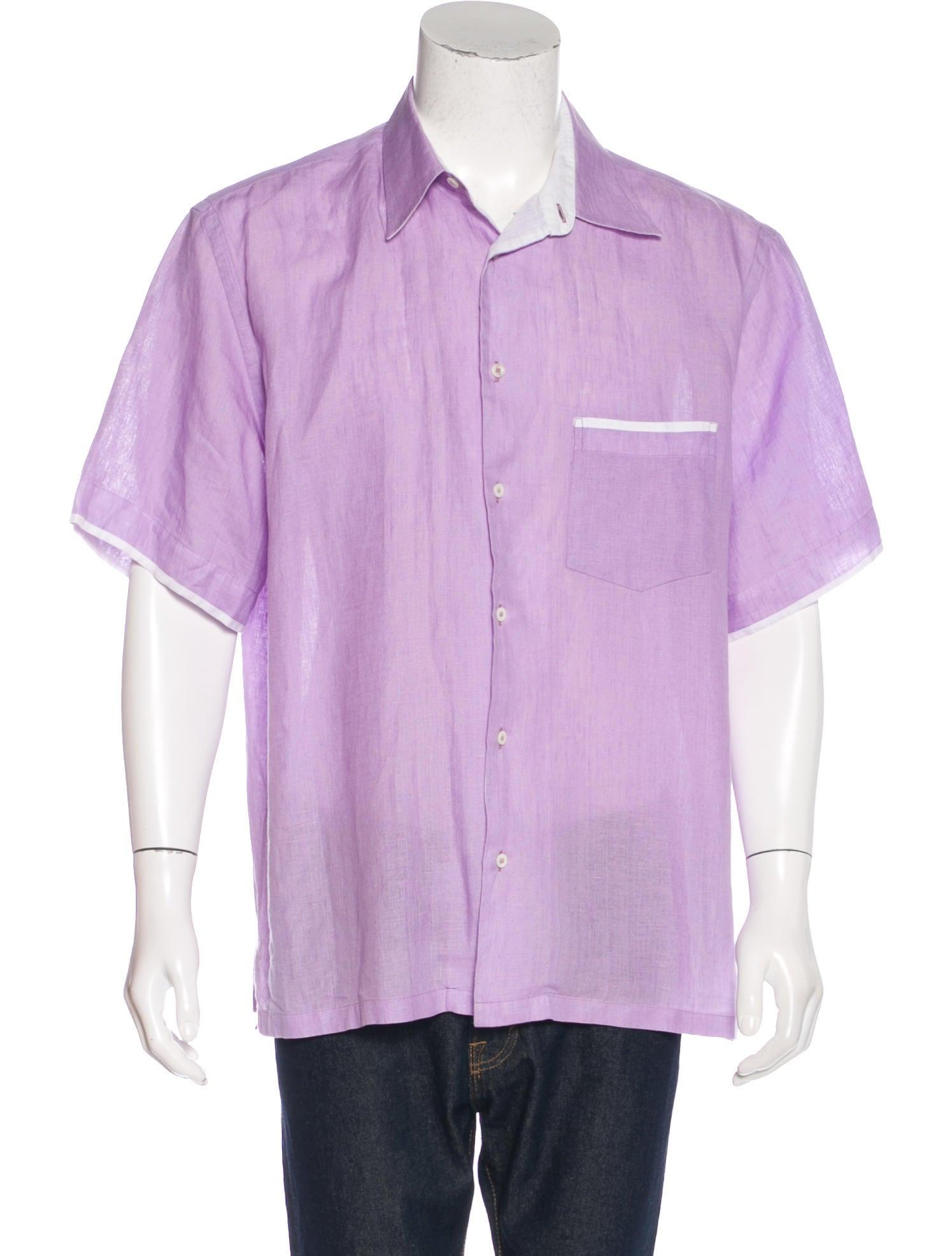 Brioni linen short sleeve shirt clothing bro21884 for Short sleeve linen shirt