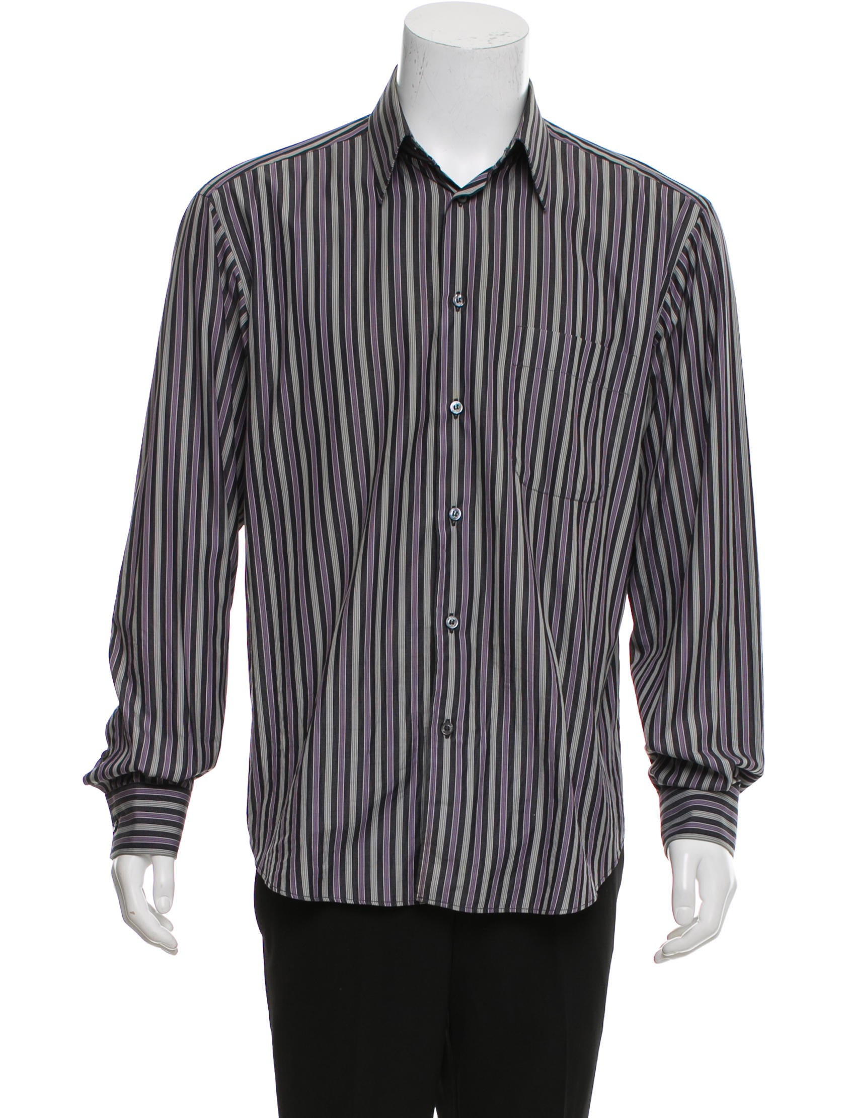 Brioni Striped Button Up Shirt Clothing Bro24642 The Realreal