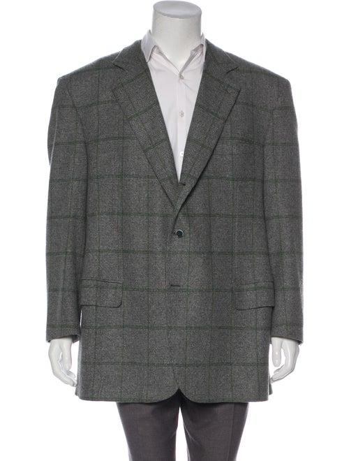 Brioni Wool Windowpane Blazer grey