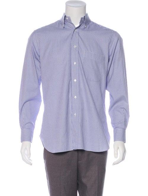 Brioni Checkered Dress Shirt white