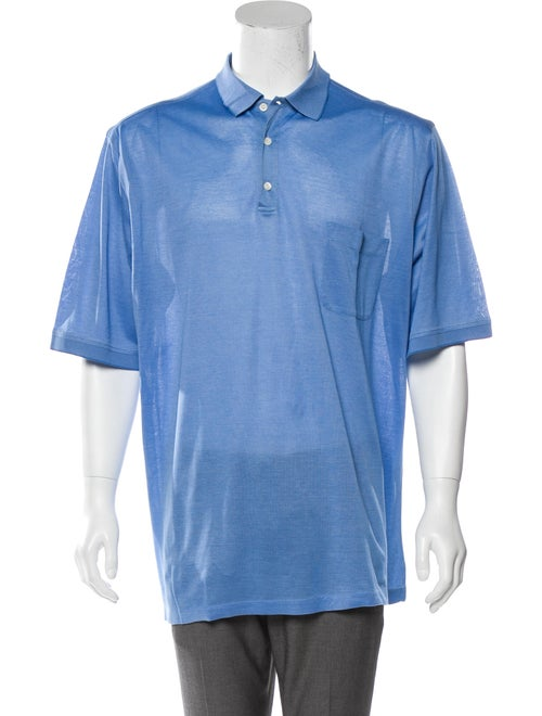 Brioni Knit Polo Shirt blue