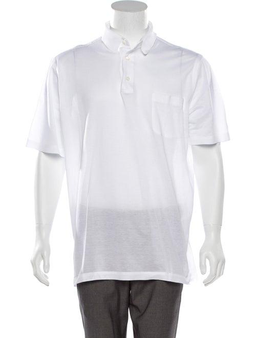Brioni Knit Polo Shirt white