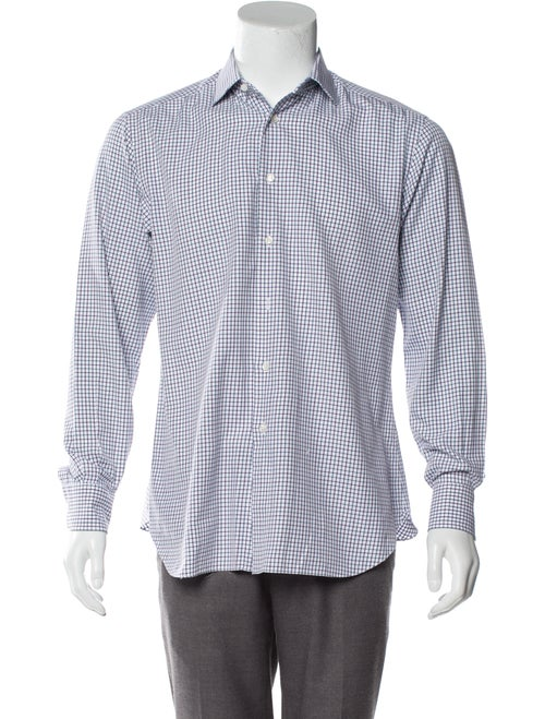 Brioni Checkered Woven Shirt blue