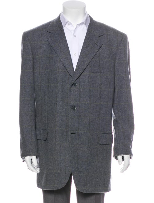 Brioni Wool Plaid Blazer grey