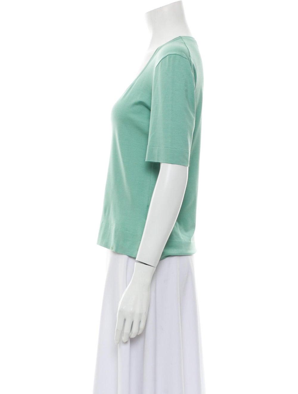 Brioni Silk Scoop Neck T-Shirt Green - image 2