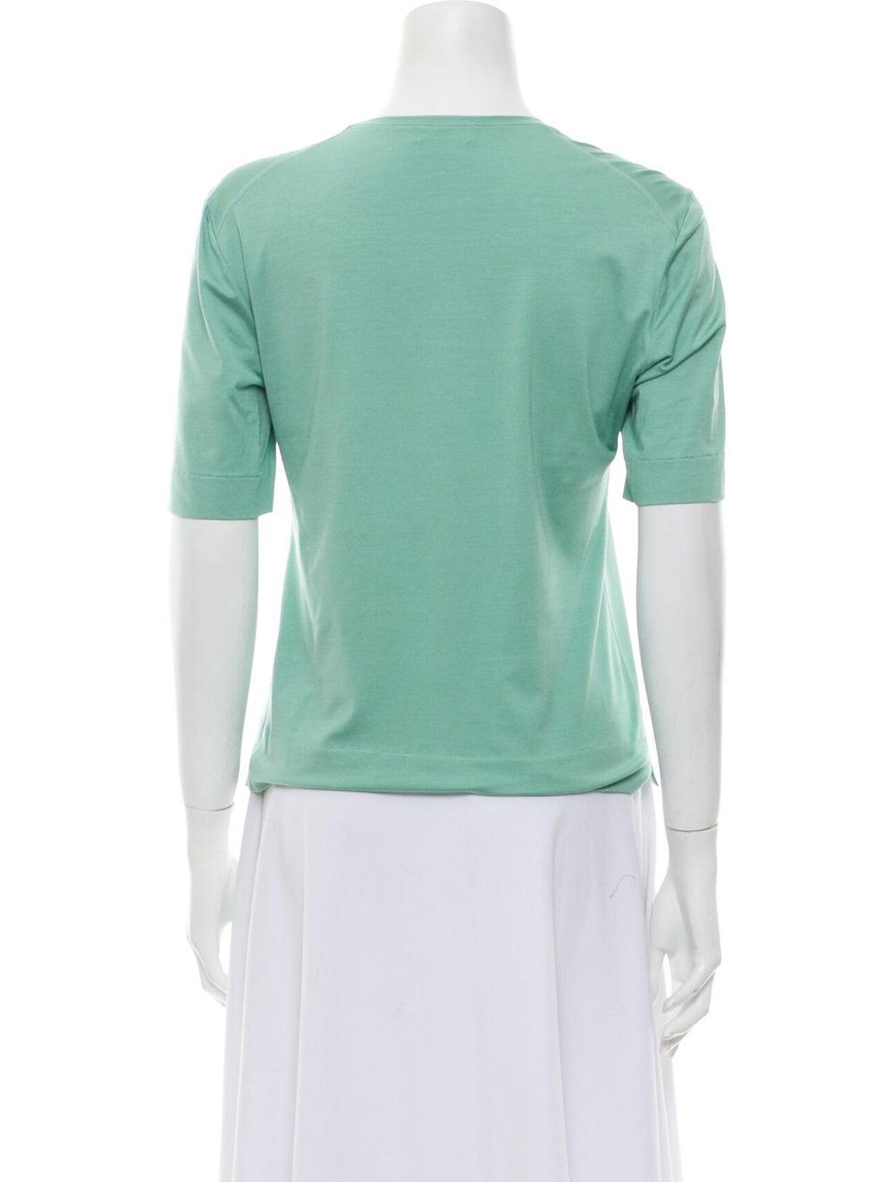 Brioni Silk Scoop Neck T-Shirt Green - image 3