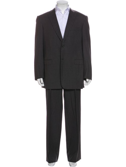Brioni Stripe Wool Two-Piece Suit Set grey