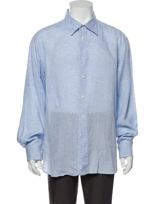 Brioni Linen Striped Dress Shirt Blue