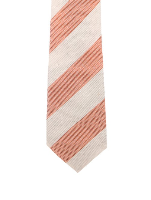 Brioni Striped Silk Tie orange