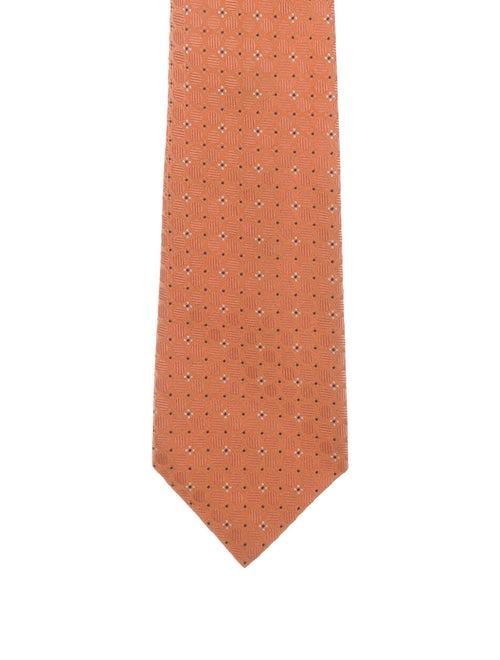 Brioni Patterned Silk Tie orange