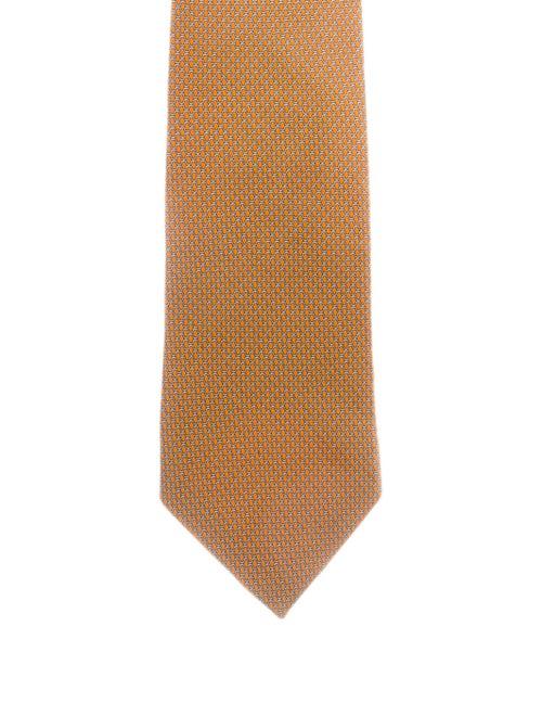 Brioni Printed Silk Tie orange
