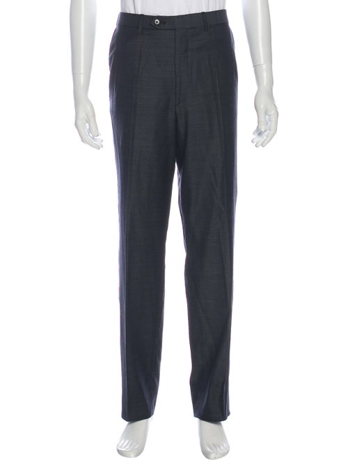 Brioni Striped Dress Pants Blue