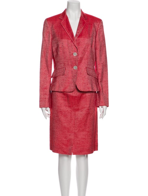 Brioni Silk Skirt Suit Red