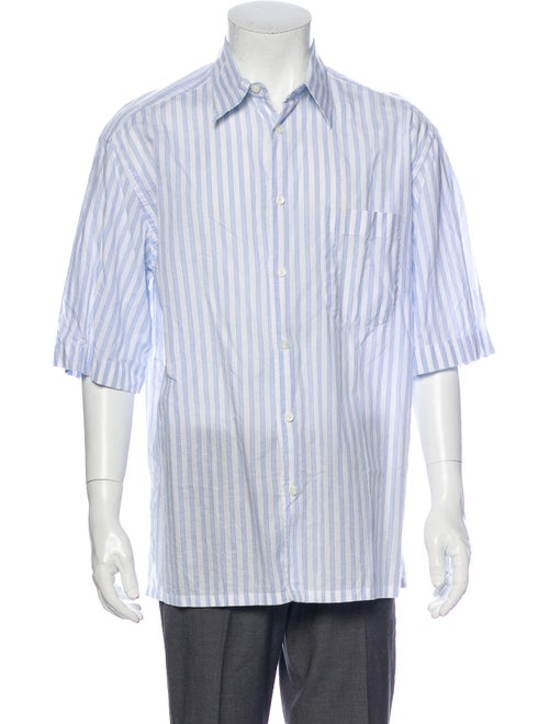 Brioni Striped Short Sleeve Shirt Blue - image 1