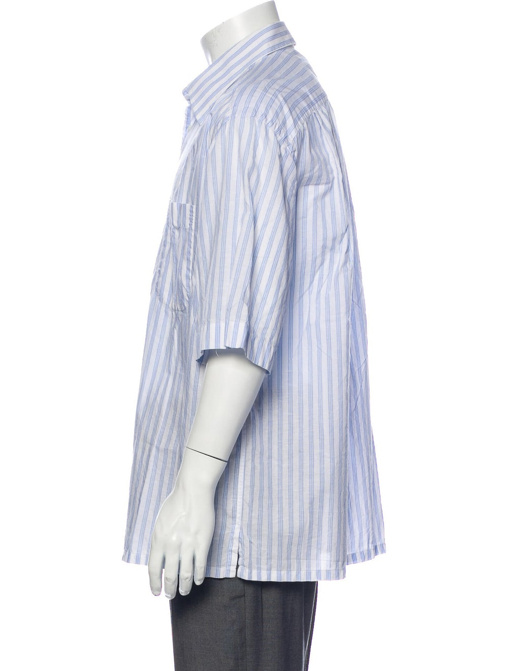 Brioni Striped Short Sleeve Shirt Blue - image 2