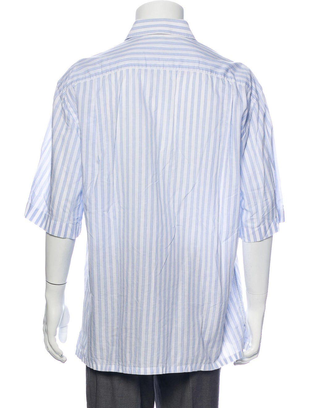 Brioni Striped Short Sleeve Shirt Blue - image 3