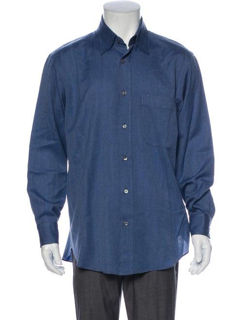 Brioni Long Sleeve Dress Shirt Blue