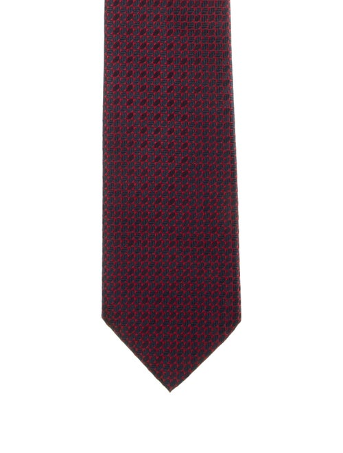 Brioni Patterned Silk Tie red