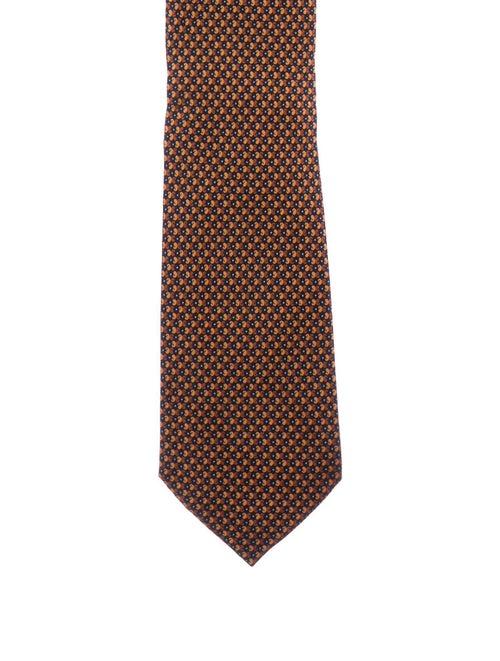 Brioni Pattern Silk Tie orange