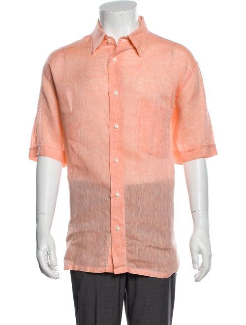 Brioni Linen Short Sleeve Shirt Orange