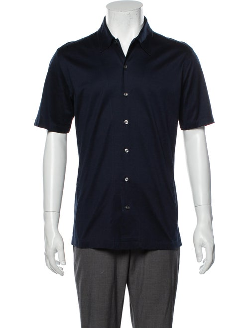 Brioni Short Sleeve Shirt Blue