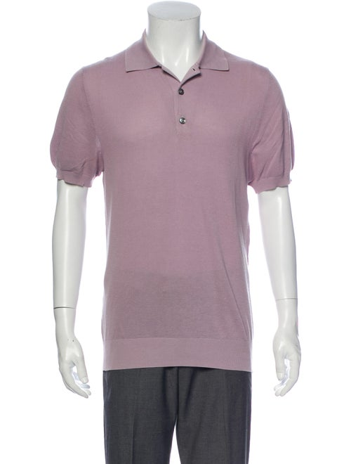 Brioni Collar Short Sleeve Polo Sweater Pink